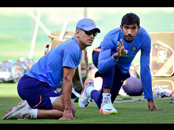 Dhoni spends time with Bumrah