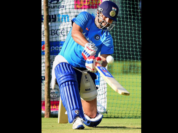 Raina practicing big hits in the nets