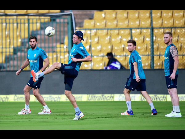 England cricketers play football