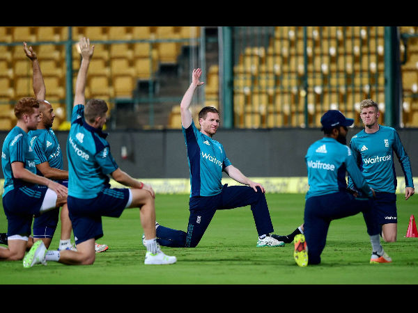 England players stretching during practice session