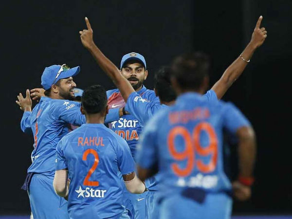 Team India celebrate victory
