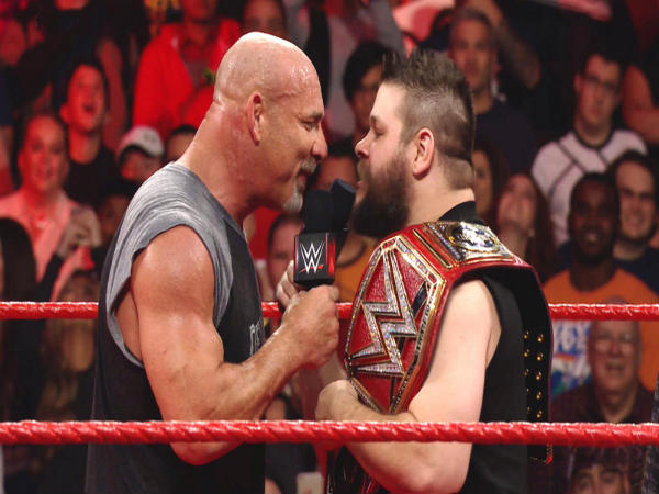 Goldberg (left) and Kevin Owens on Raw (Image courtesy: wwe.com)
