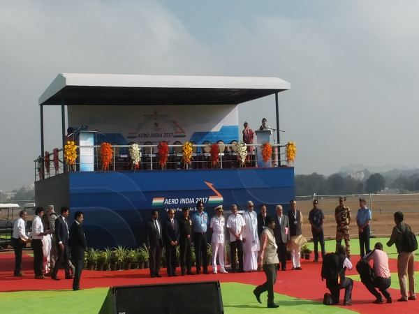 Defence Minister Manohar Parrikar at the inauguration of Aero India 2017 in Bengaluru.