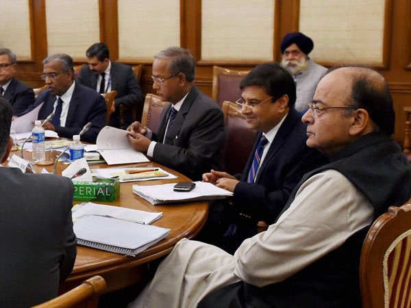 Finance Minister Arun Jaitley, RBI Governor Urjit Patel and SEBI chairman U K Sinha during the Financial Stability and Development Council meeting at North Block in New Delhi.