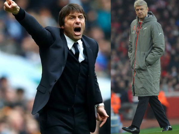 From left: Antonio Conte and Arsene Wenger (Image courtesy: Chelsea and Arsenal Twitter handles)
