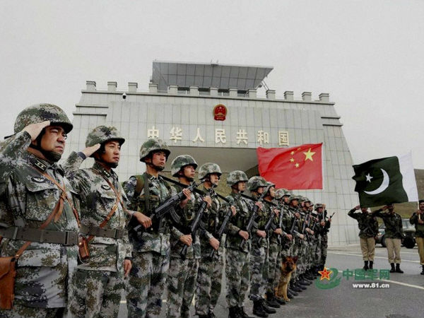 File photo of Chinese and Pakistan troops after the launch of their first joint patrolling of the border connecting PoK with Xinjiang province