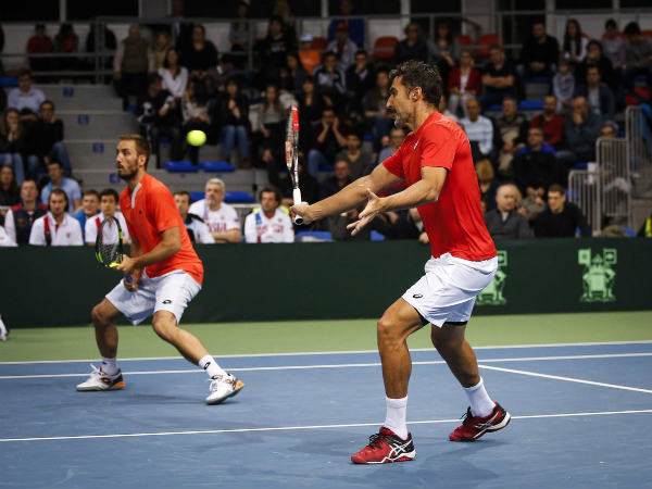 Serbia doubles team (Image courtesy: Davis Cup Twitter handle)