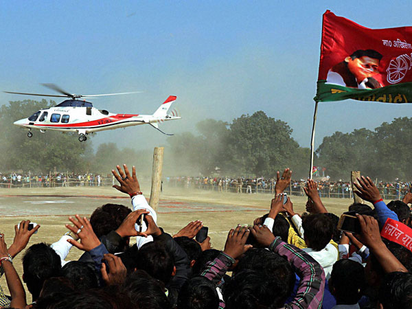 Uttar Pradesh Chief Minister and Samajwadi Party President Akhilesh Yadav arrives for an election rally in an helicopter in Sultanpur.