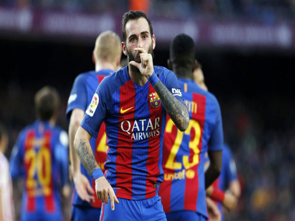 Aleix Vidal celebrates after scoring (Image courtesy: FC Barcelona Twitter handle)