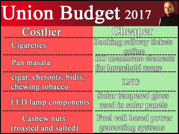 Budget: What's cheaper, what's dearer?