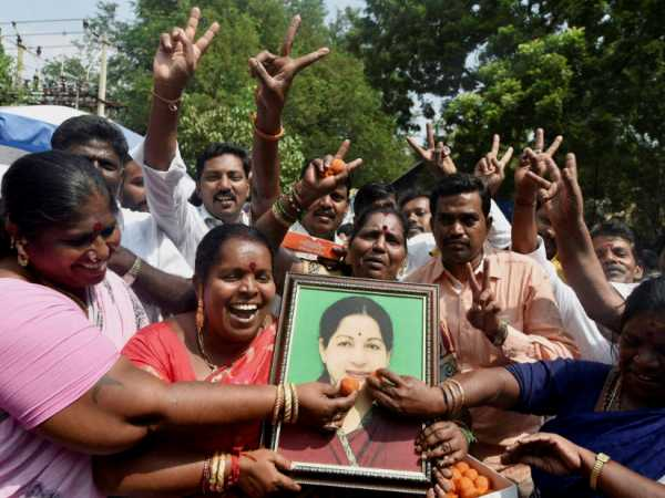 AIADMK cadres celebrating for their party's victory of threeassembly bypolls in Chennai this photograph taken on November 11, 2016.