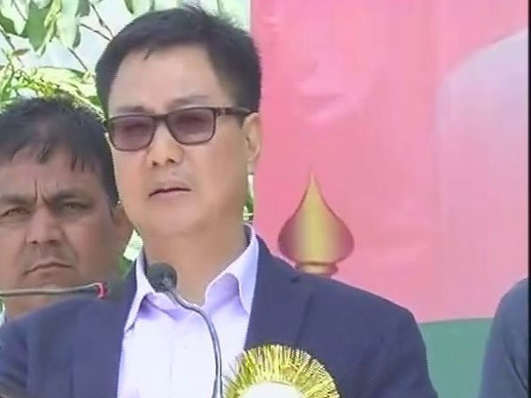 Union minister Kiren Rijiju addressing an election rally in Chandel, Manipur, on Monday.