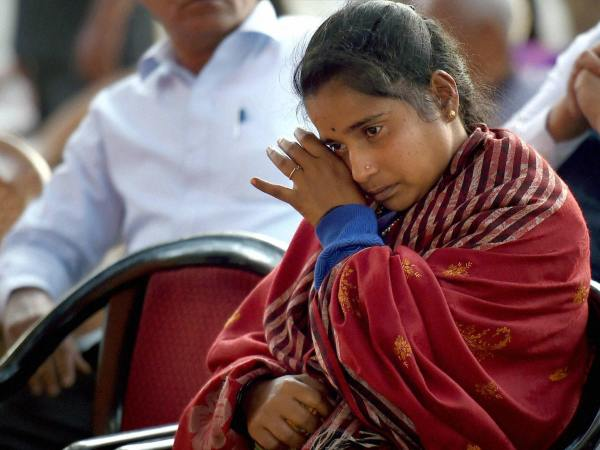 Siachen braveheart Hanumanthappa Koppad's wife Mahadevi at Brar square in New Delhi in this photograph taken on February 11, 2016