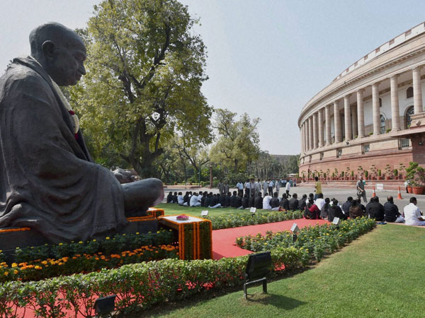 Gandhi statue outside Parliament complex