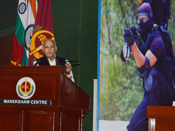 Minister of State for External Affairs MJ Akbar addresses defence delegates at the 17th International Counter Terrorism Seminar of National Security Guard at Manekshaw Auditorium Delhi Cantt in New Delhi.