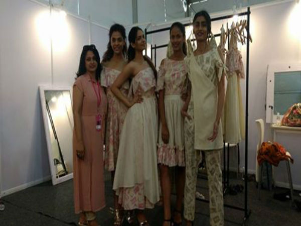 Model wearing designer Althea Krishna's dresses which are inspired by demonetisation.