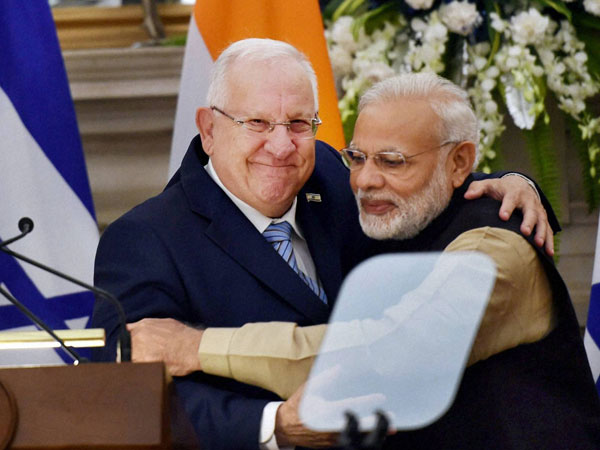 Prime Minister Narendra Modi and Israeli President Reuven Rivlin after a joint press statement at Hyderabad House, in New Delhi.