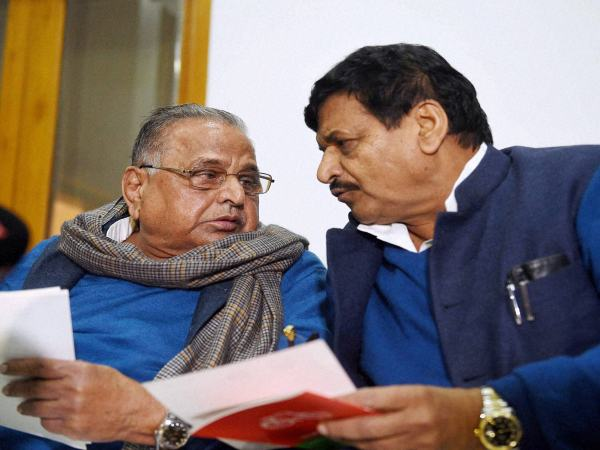 Samajwadi Party supremo Mulayam Singh Yadav and party's UP president Shivpal Singh Yadav in Lucknow on Friday.