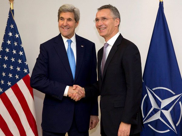 File photo of John Kerry with NATO Secretary General Jens Stoltenberg in Brussels