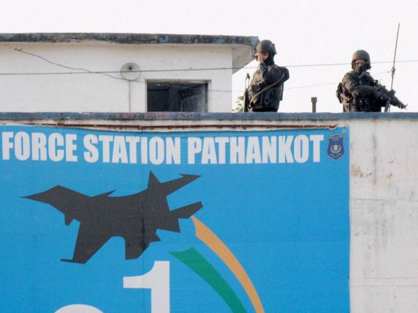 Security personnel guarding inside the Pathankot Air Force base after the end of their operation against militants in this photograph taken on January 05, 2016.