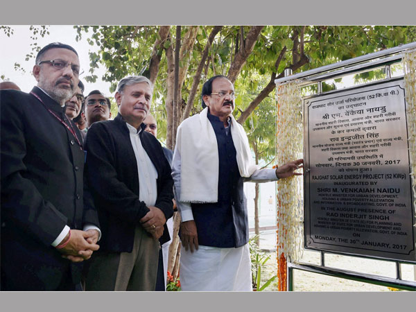 Union Minister for Urban Development M. Venkaiah Naidu inaugurating the improvement works at the Samadhi of Mahatma Gandhi, at Rajghat, in Delhi. The Minister of State for Planning (Independent Charge) and Urban Development, Housing and Urban Poverty Alleviation, Rao Inderjit Singh and the Secretary, Ministry of Urban Development, Rajiv Gauba are also seen.