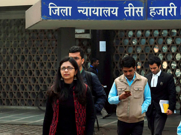 Delhi Commission for Women chief Swati Maliwal after appearing in a case at the Tis Hazari Court in New Delhi on Monday in connection with the alleged irregularities in appointments to the women's rights panel.