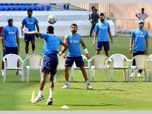 Indian players at practice ahead of the Test against Bangladesh, in Hyderabad