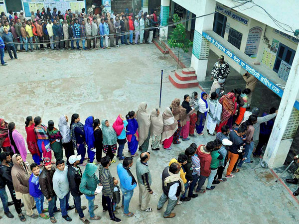 Voters seen lining up to cast their votes on February 4