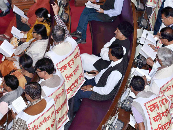Left Parties MLAs raise their voice protesting about the recent violence of Bhangar and Burdwan district during West Bengal Governor Keshari Nath Tripathi's speech at the 1st day of Budget session of West Bengal Legislative Assembly in Kolkata.
