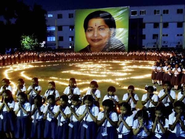 Chennai Students pay tribute to the late former Tamil Nadu Chief Minister J Jayalalithaa at their school premises in Chennai in this