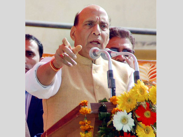 Rajnath Singh addressing a rally in UP