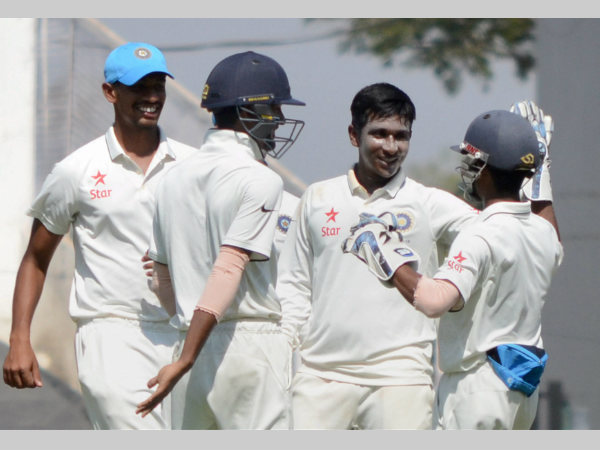 India U-19 bowler Sijumon Joseph (2nd right) celebrates with team-mates after dismissing Will Jacks on the last day of their Youth Test in Nagpur. Joseph took 6 wickets