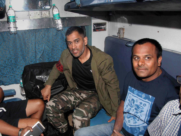 Dhoni travelled in train after 13 years