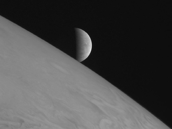 The moon's icy surface