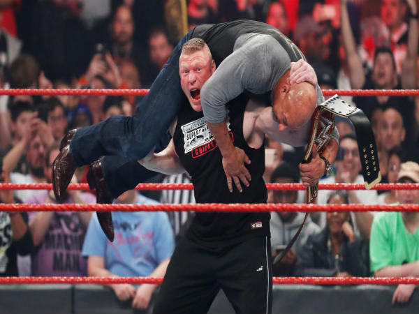 Brock Lesnar delivering F-5 to Goldberg (Image courtesy: wwe.com)