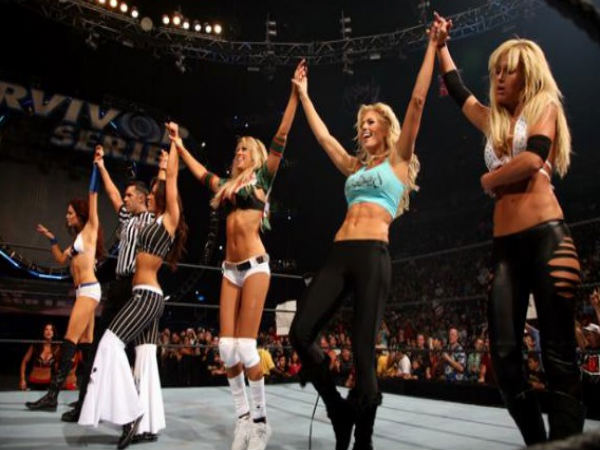 From left: Candice Michelle, Mickie James, Kelly Kelly, Torrie Wilson and Michelle McCool (Image courtesy: WWE Twitter)