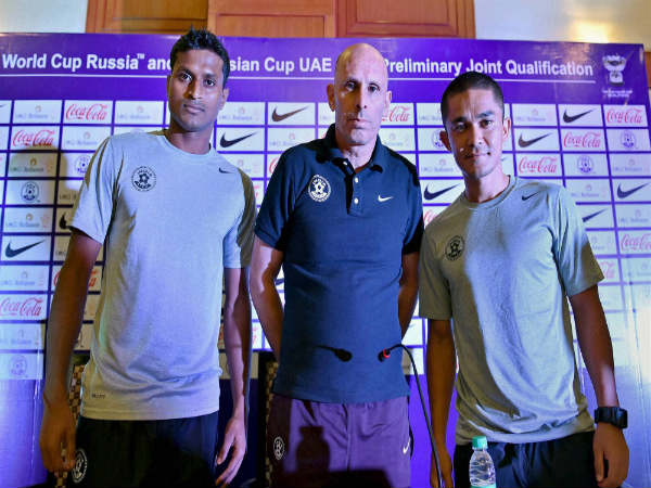 File photo: Arnab Mondal (left) with Indian coach Stephen Constantine and Sunil Chhetri