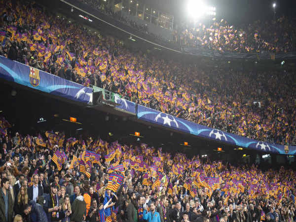 Barcelona fans flocked the stadium in numbers (Image courtesy: Barcelona Twitter handle)