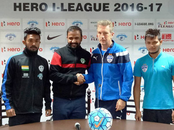 Minerva Punjab coach and player (left) with Bengaluru manager Albert Roca Nishu Kumar (Image courtesy: I-League Twitter handle)