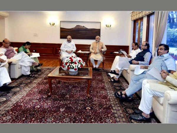 Prime Minister Narendra Modi with BJP President Amit Shah and Union ministers M Venkaiah Naidu,Rajnath Singh , Sushma Swaraj , Arun Jaitley and others during BJP Parliamentary Board meeting at 7 Lok Kalyan Marg, in New Delhi.