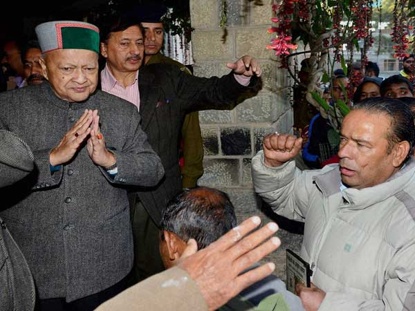 Himachal Pradesh Chief Minister Virbhadra Singh listening to public grievances at Dharamsala
