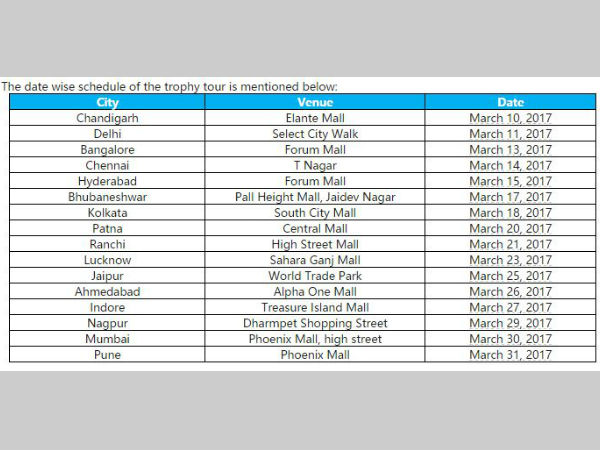 IPL trophy tour schedule