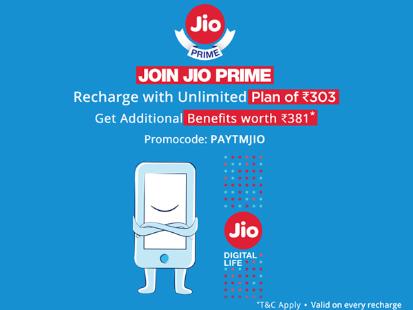 Enjoy Unstoppable, Unlimited Reliance Jio Services, Use Paytm Code Recharge Now for Rs.303