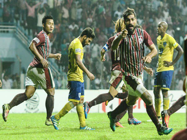 Balwant Singh celebrates after scoring the equaliser for Mohun Bagan (Image courtesy: I-League Twitter handle)