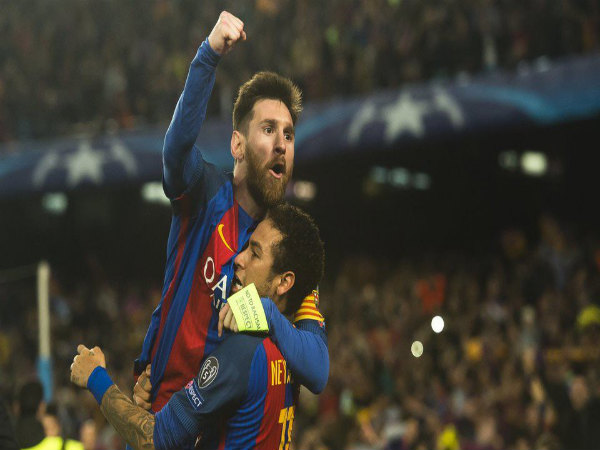Lionel Messi (top) celebrates with Neymar (Image courtesy: Barcelona Twitter handle)