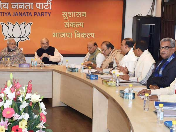 Prime Minister Narendra Modi, BJP President Amit Shah, Home Minister Rajnath Singh and Finance Minister Arun Jaitley during the Central Election Committee meeting for Uttar Pradesh state elections at BJP headquarters in New Delhi.