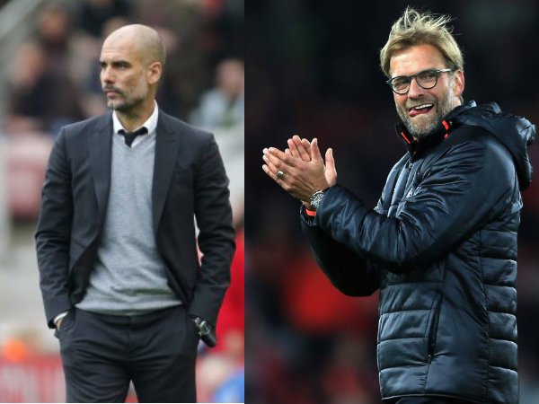 From left: Pep Guardiola and Jurgen Klopp