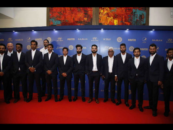 Team India during BCCI Annual Awards 2015-16