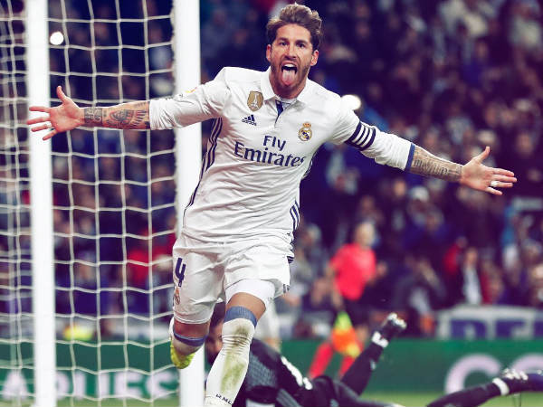 Sergio Ramos celebrates (Image courtesy: Real Madrid Twitter handle)
