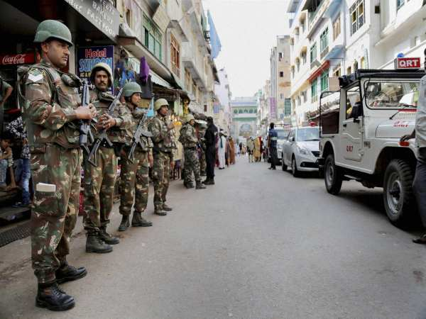 Security personnel at Dargah Bazar near the shrine of Khwaja Moinuddin Chishti in Ajmer. Photo credit: PTI